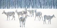Vera-Kaeufeler-Tiere-Land-Landschaft-Winter-Moderne-Abstrakte-Kunst