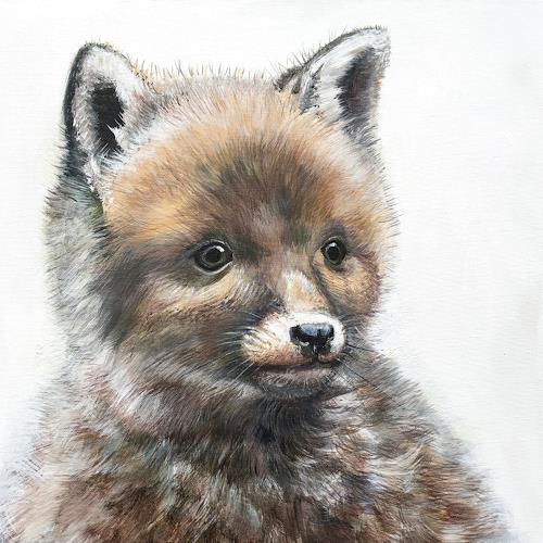 Vera Käufeler, Foxli - neugierig, Tiere: Land, Natur, Fotorealismus
