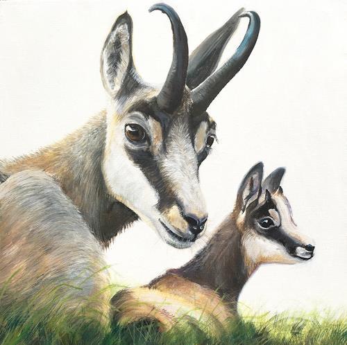 Vera Käufeler, Mama passt auf, Natur, Tiere: Land, Fotorealismus