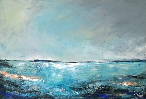 Adriane Dworzak, Meerblick, Landschaft: See/Meer, Gegenwartskunst, Expressionismus