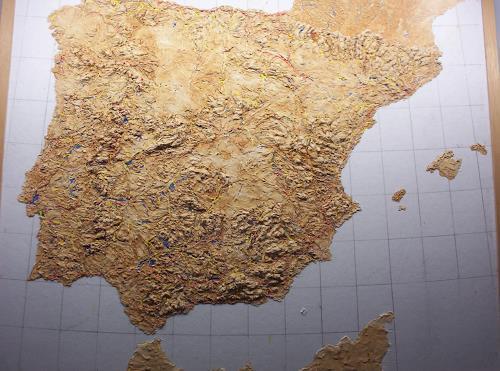 Ottmar Gebhardt, Geografisches Reliefbild  nur grundiert, Dekoratives, Diverses, Gegenwartskunst