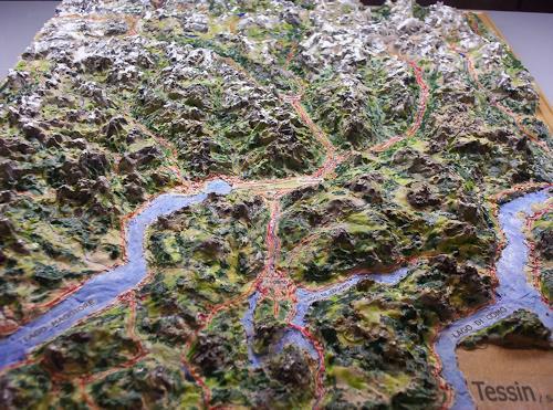 Ottmar Gebhardt, Tessin-Reliefbild maßstabgerecht handmodelliert, Landschaft: Berge, Natur: Erde, Neo-Expressionismus