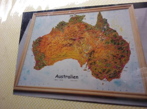 Ottmar Gebhardt, AUSTRALIEN. Geografisches Reliefbild-Unikat, Landschaft: Tropisch, Dekoratives, Realismus