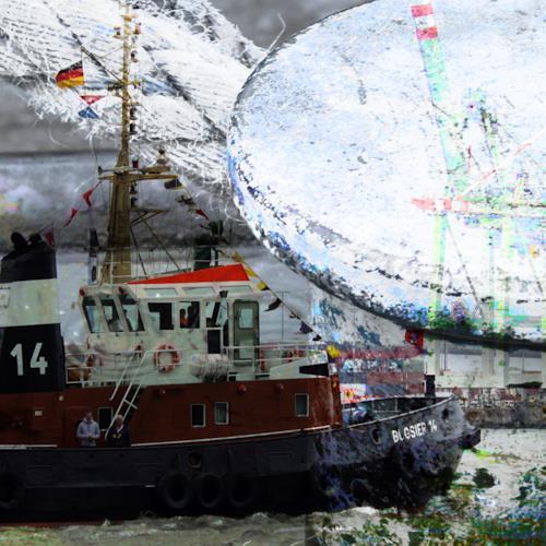 Beate Kratt, Hamburg-Hafen, Bewegung, Verkehr: Schiff, Gegenwartskunst