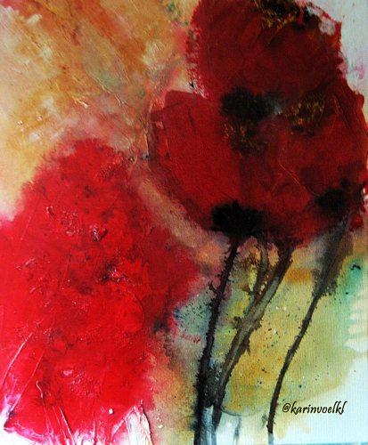Karin Völkl, Mohn2, Abstraktes, Pflanzen: Blumen, Abstrakte Kunst, Expressionismus