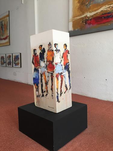 maria kammerer, Begegnung!, Abstraktes, Menschen: Gruppe, Abstrakte Kunst