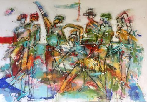 maria kammerer, Begegnung 4!, Menschen: Gruppe, Abstrakte Kunst, Expressionismus