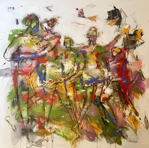 """maria kammerer, Begegnung 5 """"Familie, Menschen: Familie, Abstrakte Kunst, Abstrakter Expressionismus"""