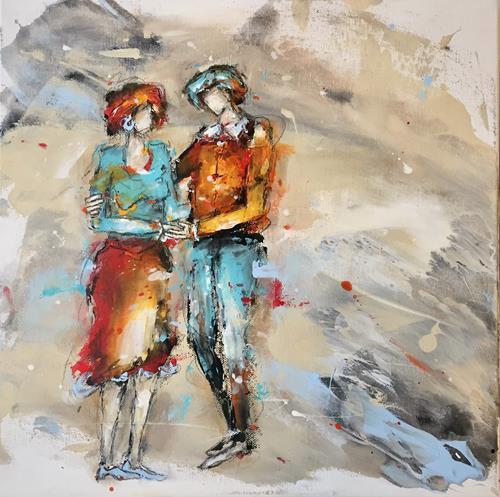 """maria kammerer, Auftragsarbeit """"Partnerschaft, Menschen: Paare, Abstrakte Kunst, Expressionismus"""
