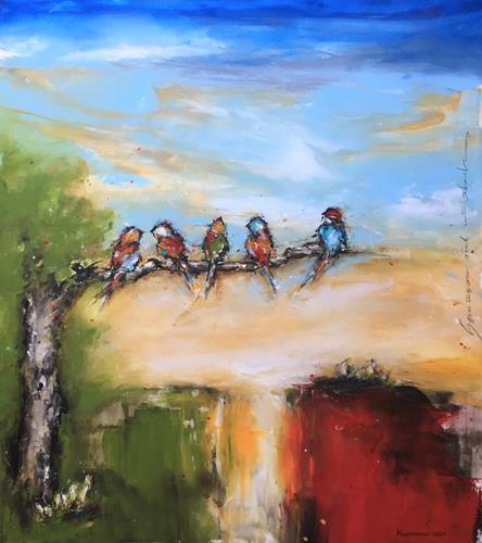 maria kammerer, Gemeinsam sind wir stark!, Tiere: Luft, Diverse Landschaften, Action Painting, Expressionismus