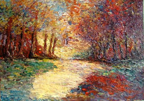 Pierre Putica, Hertbst in meinem Traum, Landschaft: Herbst, Impressionismus, Expressionismus