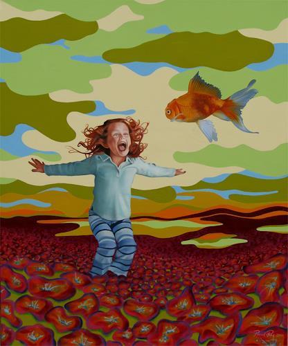 Pascal Roy, Red fish, Gefühle: Freude, Tiere: Luft, Konzeptkunst, Abstrakter Expressionismus