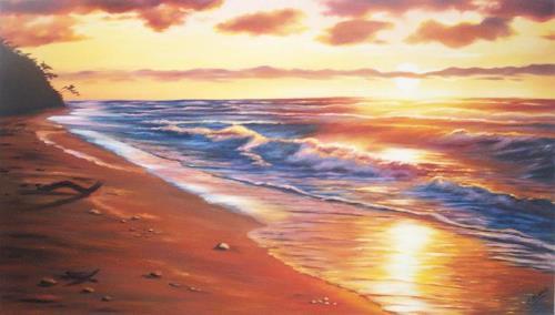 Ela Nowak, Sonnenuntergang, Natur: Wasser, Landschaft: See/Meer, Realismus