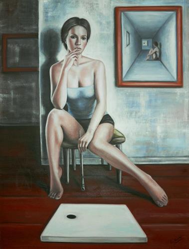 Ela Nowak, Nachdenken, Situationen, Menschen: Frau, Postsurrealismus, Abstrakter Expressionismus