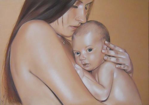 Ela Nowak, Mutter mt Kind, Gefühle: Geborgenheit, Menschen: Porträt, Realismus, Expressionismus