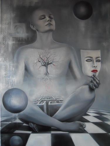 Ela Nowak, Meditation, Diverse Gefühle, Menschen: Gesichter, Surrealismus, Abstrakter Expressionismus