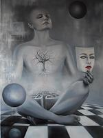 Ela-Nowak-Diverse-Gefuehle-Menschen-Gesichter-Moderne-Avantgarde-Surrealismus