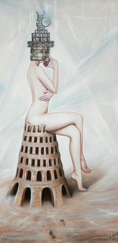 Ela Nowak, Turm, Fantasie, Akt/Erotik: Akt Frau, Postsurrealismus, Abstrakter Expressionismus