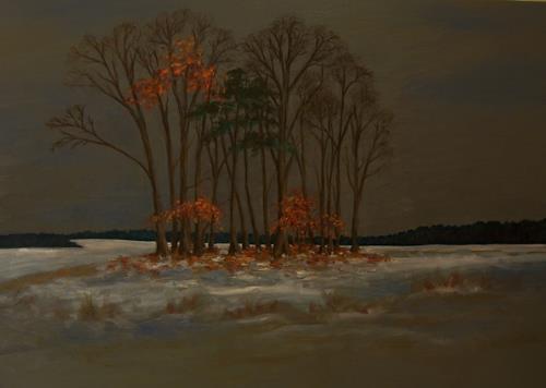 Birgit Schnapp, der erste Schnee, Landschaft: Herbst, Pflanzen: Bäume, Neo-Impressionismus, Expressionismus