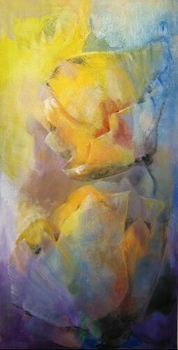 Sibylle Guttenberg, gelber Mohn, Pflanzen: Blumen, Fantasie, Gegenwartskunst, Expressionismus