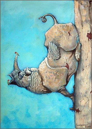 Sascha Lunyakov, Nest, Diverse Tiere, Fantasie, Abstrakter Expressionismus