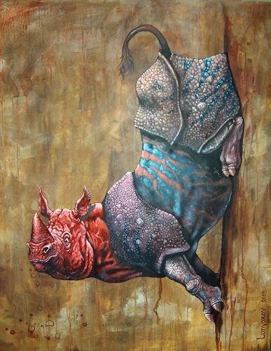 Sascha Lunyakov, Super Rhino, Diverse Tiere, Fantasie, Abstrakter Expressionismus