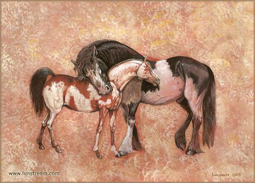 Sascha Lunyakov, Horses in love, Tiere: Land, Dekoratives