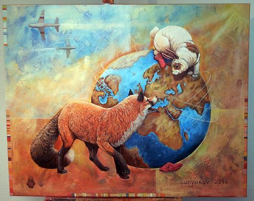 Sascha Lunyakov, Rote Socken, Tiere: Land, Humor, Abstrakter Expressionismus