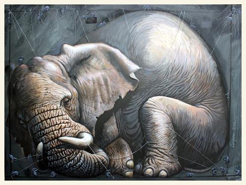 Sascha Lunyakov, Gulliver, Tiere: Land, Dekoratives, Abstrakter Expressionismus