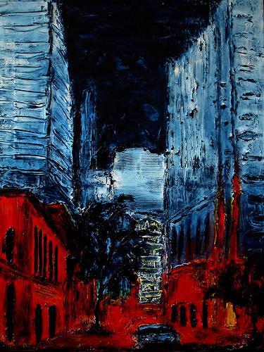 Edelgard Sprengel, New York by Night, Abstraktes, Wohnen: Stadt, Gegenwartskunst, Abstrakter Expressionismus
