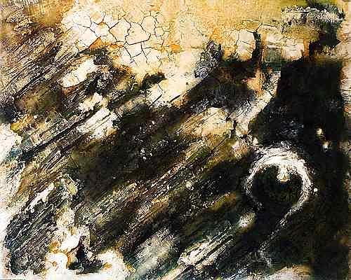 Edelgard Sprengel, Gweni Fada Krater - Tschad, Zyklus Erde von oben, Abstraktes, Landschaft, Gegenwartskunst