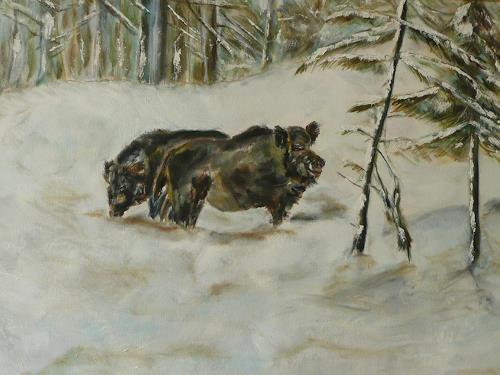 ALBERTO, Sauen im Schnee, Jagd, Naturalismus
