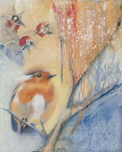 Marika Korzen, Wintermorgen, Tiere: Luft, Landschaft: Winter, Gegenwartskunst, Expressionismus