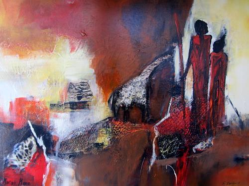 Silvia Sailer, Afrika,Masai Mara, Menschen: Paare, Landschaft: Tropisch, Moderne, Abstrakter Expressionismus