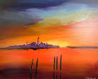 Silvia-Sailer-Landschaft-See-Meer-Romantik-Sonnenuntergang-Gegenwartskunst-Gegenwartskunst