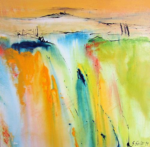 Silvia Sailer, Toskanischer Sommer II, Landschaft: Berge, Landschaft: Sommer, Gegenwartskunst, Abstrakter Expressionismus