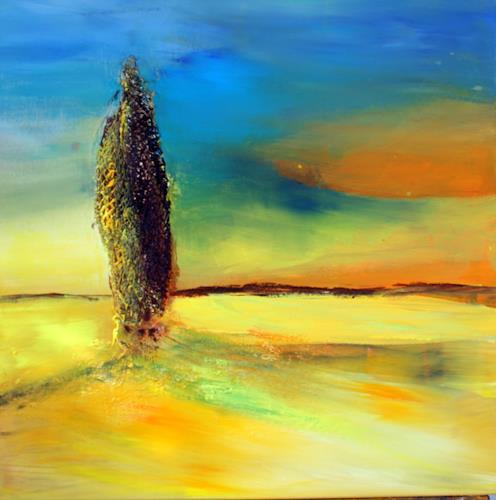 Silvia Sailer, Zypresse, Pflanzen: Bäume, Landschaft: Ebene, Gegenwartskunst, Expressionismus