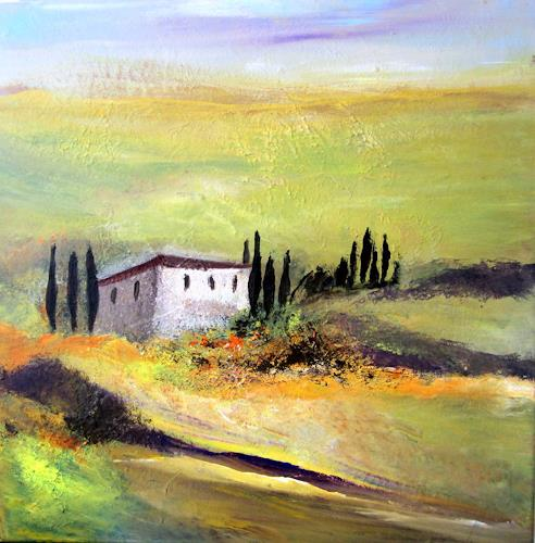 Silvia Sailer, Toskana im Frühling, Landschaft: Hügel, Natur: Erde, Gegenwartskunst, Expressionismus