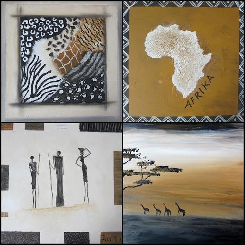 Silvia Sailer, Afrika Collage, Natur: Diverse, Diverse Landschaften, Gegenwartskunst