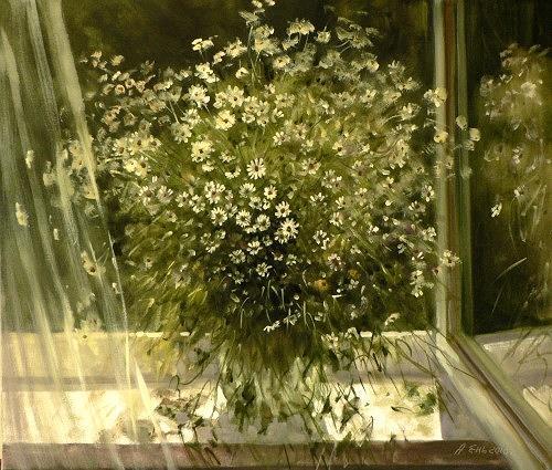Alexander Jen, Kamillenstrauss, Pflanzen: Blumen, Impressionismus, Expressionismus