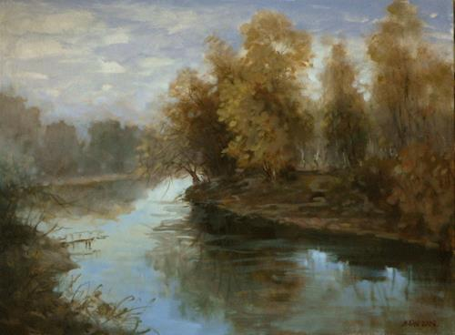 Alexander Jen, Morning on the River, Diverse Landschaften, Impressionismus, Expressionismus
