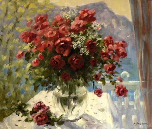 rosenstrauss auf der terrasse von alexander jen pflanzen blumen landschaft sommer malerei. Black Bedroom Furniture Sets. Home Design Ideas