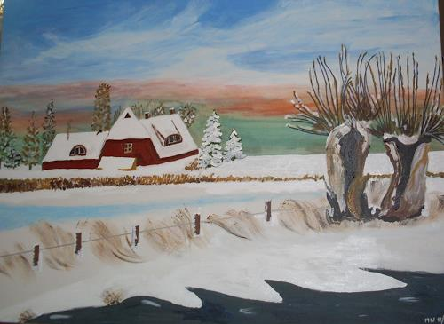 Marija Weiss, Dr., Bauernhof im Schnee, Landschaft, Landschaft: Winter, Gegenwartskunst
