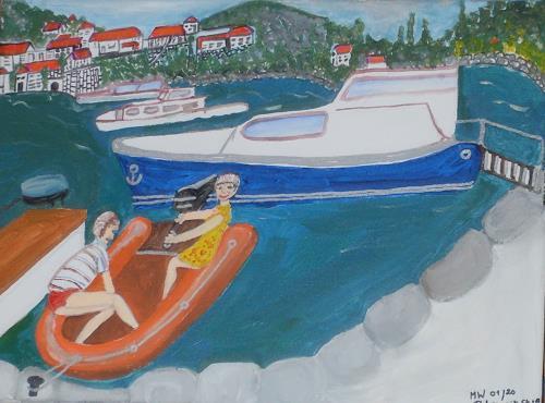 Marija Weiss, Dr., Mit Gummiboot in Dubrovnik, Landschaft, Menschen: Kinder, expressiver Realismus