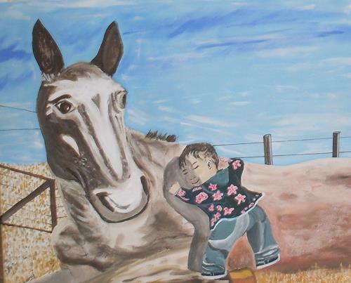 Marija Weiss, Dr., Mongolischer Junge mit seinem Pferd, Menschen: Kinder, Tiere, Gegenwartskunst
