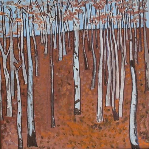 Marija Weiss, Dr., Birkenwald in Herbst, Natur, Pflanzen: Bäume, Gegenwartskunst