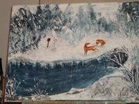 Marija-Weiss--Dr-Landschaft-Winter-Tiere-Land-Moderne-expressiver-Realismus