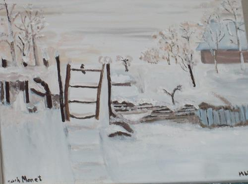 Marija Weiss, Dr., Schnee am Bauernhof, Landschaft, Landschaft: Winter, Neo-Impressionismus