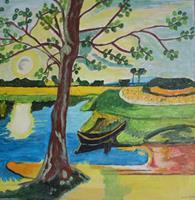 Marija-Weiss--Dr-Landschaft-Landschaft-See-Meer-Moderne-expressiver-Realismus