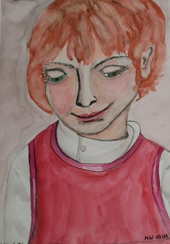 Marija Weiss, Dr., Kleines Mädchen im roten Kleid, Menschen, Menschen: Kinder, expressiver Realismus